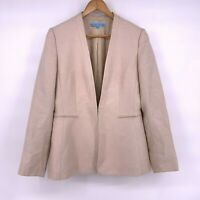 Antonio Melani Womens Blazer Jacket Size 8 Hook Closure Pockets Lined Tan