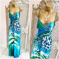 KALEIDOSCOPE  UK 12 Bright Blue Tropical Print Slinky Stretch Maxi Dress Summer