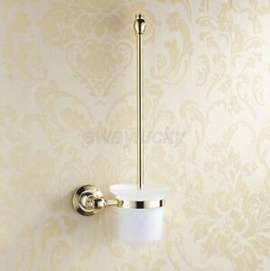 Gold Color Brass Wall Mounted Bathroom Toilet Cleaning Brush and Holder Set