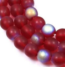 50 Czech Frosted Sea Glass Round Beads - Matte - Siam Ruby AB moonstone 6mm