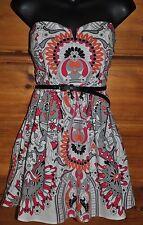 'RWish' Strapless Mini Dress, Gray, Pink, Orange Geometric/Floral, Lined Size M