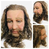 Life Size Wax Mans Head Realistic Prop Display 1:1 Vtg Glass Eyes Real Hair