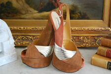 H BY HALSTON SILVER BROWN SUEDE LEATHER HIGH HEEL PLATFORM PEEP TOE SHOES SZ 6 B
