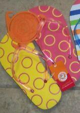 "Littlemissmatched ""Bright Yellow & Red Circles"" Flip-Flops Kids Small $10 NWT"