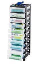 10 Drawer Plastic Rolling Storage Cart Cabinet Home Office Craft Organizer Top B