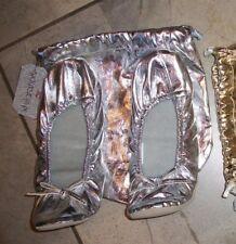 128  Xhilaration SILVER Folding Ballet Slipper AND Matching Bag S 5 - 6