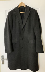Men's HUGO BOSS Cashmere Overcoat Wool Charcoal Grey Single Breasted UK 48 M VGC