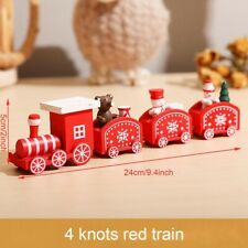 Christmas  Wooden Train Santa Claus Xmas Gift Home Decor Ornaments Toy Red Train