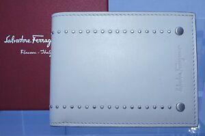 New Salvatore Ferragamo Men's Wallet Credit Card CC Holder White