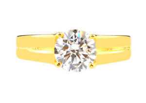 2.80Ct D/VVS1 Round Shape Solitaire Engagement Woman's Ring In 14KT Yellow Gold