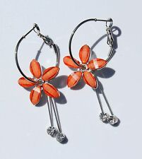 Earring Sparkle Hibiscus Plumeria Flower Dangle Hawaii Luau CZ Long Drop Orange