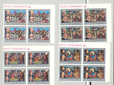 Comoros #165-170 Bicentennial, Horses, American Indians 6v Imperf Blocks of 4