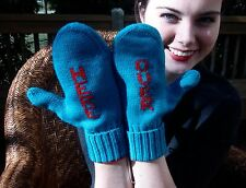 Kate Spade Over Here Mittens Big Apple Teal/Red Gloves BABY IT'S COLD! 100% Wool