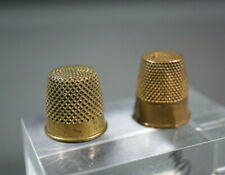2 Antique Sewing Tailors Cotton/Weaver/Textile Crafts Atelier Brass Thimble Tool