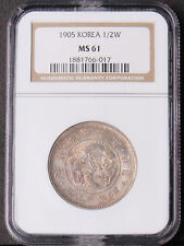 Korea 1905 (Kuang Mu Year 9) Half 1/2 Won Silver Coin NGC MS61