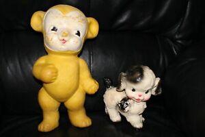 Vintage Lot of 2 Rubber Squeak Toys Bear & Dog 1 Sun Rubber