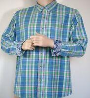 Vintage Authentic Indian Madras Cotton Button-Down Shirt Sz XXL Mens Blue Plaid
