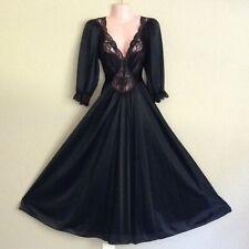 "Vintage Olga Black Nightgown 92350 Long Sleeve Nylon Spandex 108"" Sweep Small"