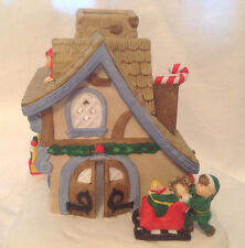 Partylite Christmas Tealight Candle Holder Santa'S Workshop Elves House Candy