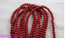 308 pcs Red faux pearl glass beads Round 6mm M387