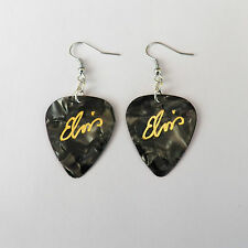 ELVIS PRESLEY guitar pick plectrum Earrings BLACK PEARL stainless steel earwires