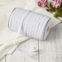 """200yds/Roll White 1/4"""" Flat Elastic Cords Knit Braided Sewing Bands Ropes 10mm"""