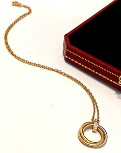 Cartier 18K/750 Tri Colour Rose Gold 5 Diamond Trinity Necklace Box & Papers