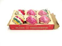 """VINTAGE GLASS CHRISTMAS TREE ORNAMENTS BY COBY CORNING BOXED 6 BALLS 2.5"""" ACROSS"""