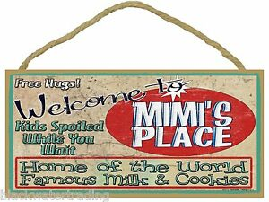 "Welcome to Mimi's Home of Famous Milk Cookies 5""x10"" Grandmother Sign Plaque"