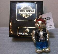 Christopher Radko PETITE HARLEY BEAR Harley Davidson Glass Ornament NWT New+BOX