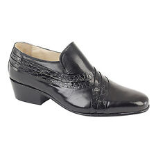 Mens Montecatini Italian Styled Black Leather Shoes With Cuban HEELS M5104a UK 10