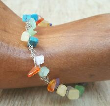 *Freedom Tree* Garnet Gemstone Bangle Cuff Bracelet Hand Made Chakra Healing