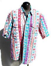 Vtg Mens 1990s Cowboy Western Shirt Wrangler Aztec Southwest Vivid Colors 16