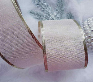 63mm x 1m Wired Christmas Ribbon  Pink With Gold Sparkle Lurex