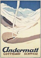 Vintage Ski Posters ANDERMATT, GOTTHARD, Swiss, 1928, 250gsm Art Deco Print
