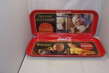 "2 Coca Cola TV Serving Trays ""They Knew What I Wanted"" - ""Welcome"" 19""x 8.5"""
