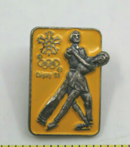 1988 Calgary Winter Olympics Figure Skating Collectible Pin Yellow Canada