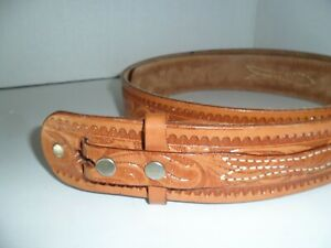 """Looper 46"""" Hand Tooled Leather Belt - no buckle"""