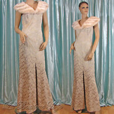 Gala dress from nicova Beige, Gold Patterned, Detachable Collar From Fur Size 38