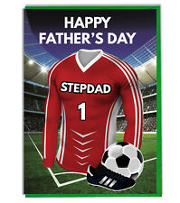 Fathers Day Football Card For A Stepdad - Red and White Team Shirt / Colours