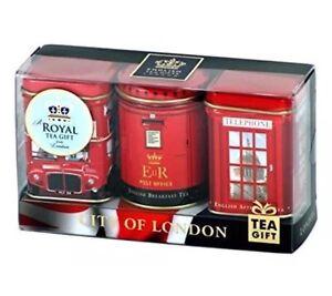 """City of London"", 3 x 25g Tea Caddies London Souvenir Gift English Tea Gift Set"