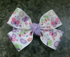 Lot of 2 Spring butterflies flowers hair bow toddler girl nonslip clip 2inches