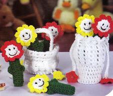 CUTE Flower Friends & Basket Purse/Toy/ Crochet Pattern INSTRUCTIONS ONLY
