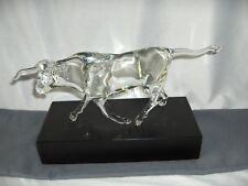 Godo Frabel Hand Blown Crystal Figurine Sculpture Long Horned Bull Signed RARE