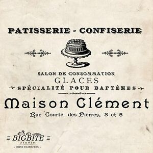 WATER DECAL: Vintage French Patisserie Advert (Furniture Print Transfers) #024