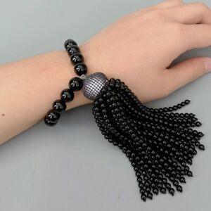 Black Onyx Bracelet Cubic Zirconia Pave Pave Cap Tassel Mala Stretch Adjustable
