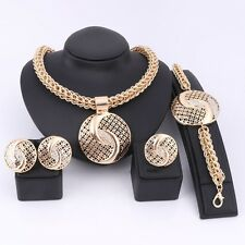 Dubai Gold Plated Crystal Necklace Jewelry Sets Wedding African Beads Costume