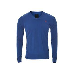 G-Star Raw Correctline Men C-Line V Knit Sweater Large Blue Pullover Long Sleeve