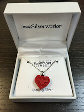 Silver Works Sterling Silver Red Swarovski Carved Heart Pendant Necklace Set