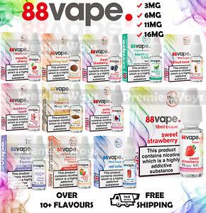 88 Vape E-Liquid Vape Juice 88 Vape 11mg 16mg All Flavours 10ml Packs UK Vaping
